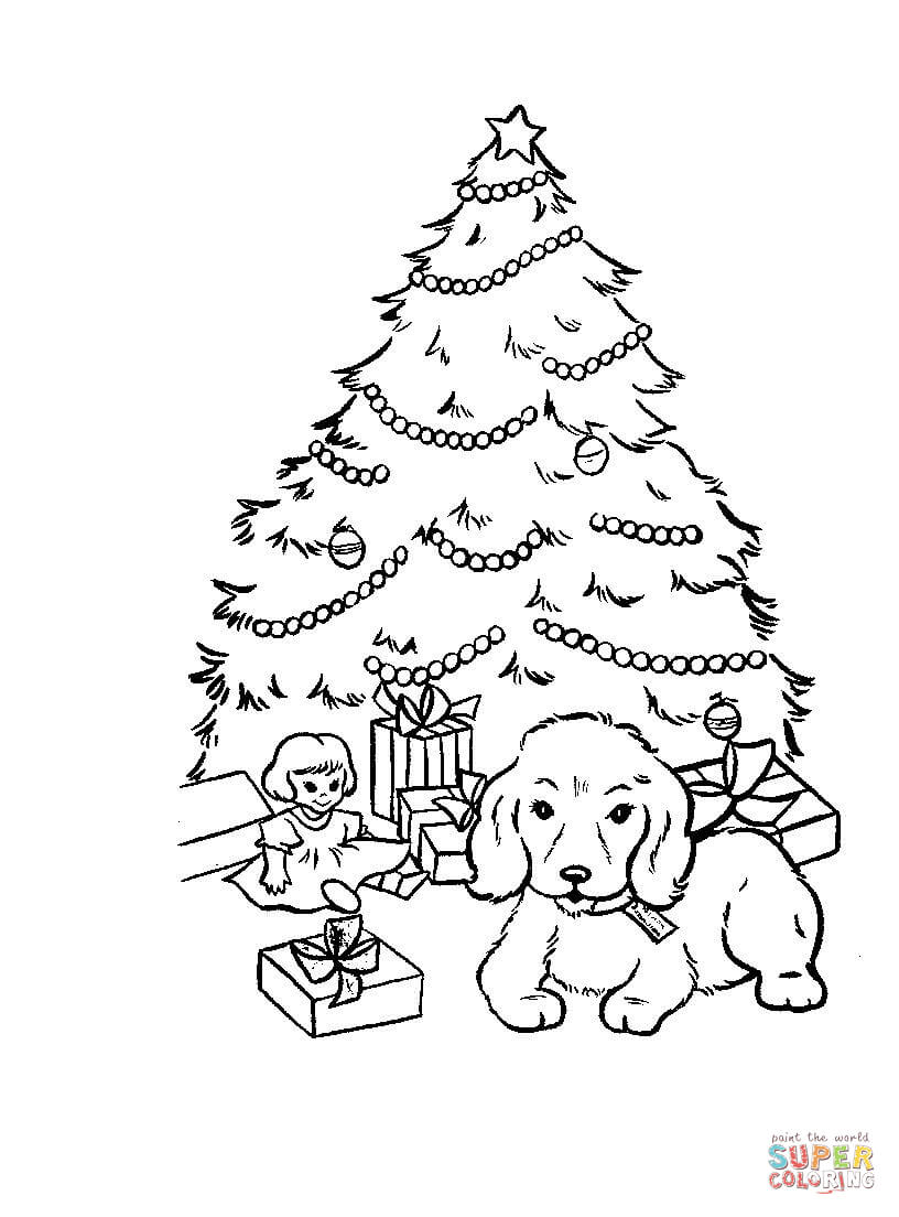 Christmas Tree Coloring Pages With Presents And Gifts Under Page