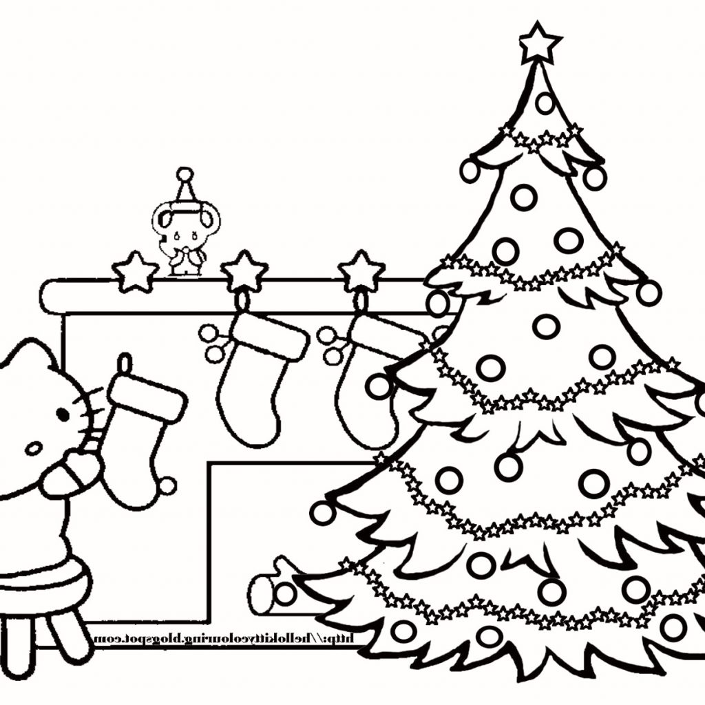 Christmas Tree Coloring Pages With Presents Big Trees Valid