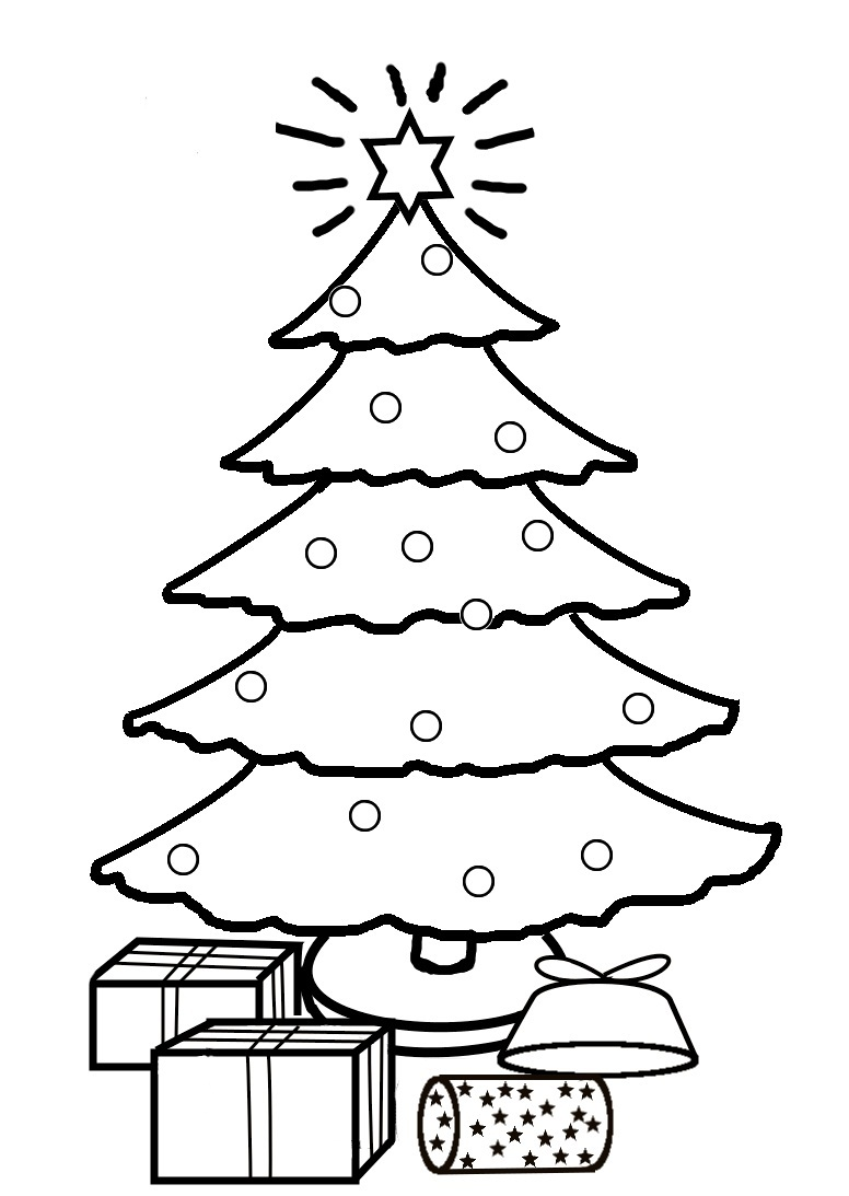 Christmas Tree Coloring Pages With Presents Drawing 24 For