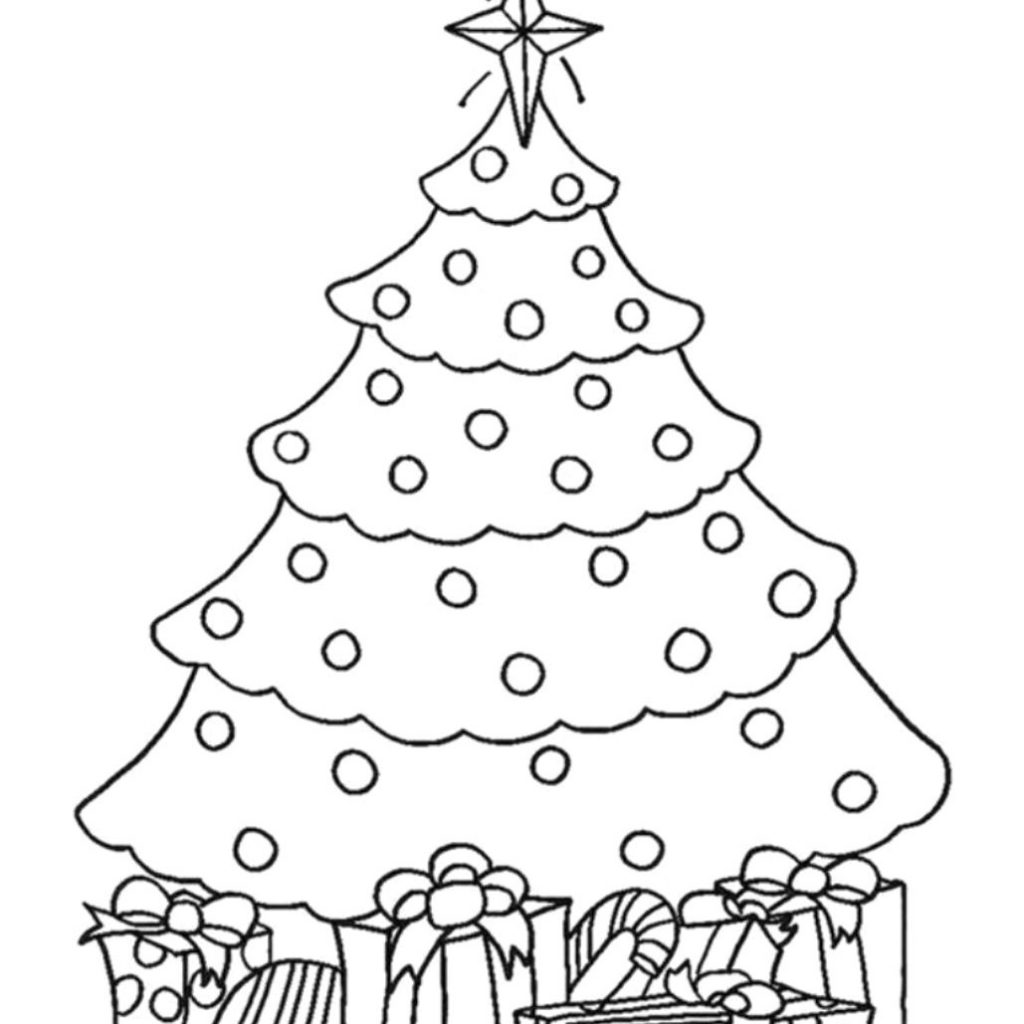 Christmas Tree Coloring Pages With Presents Furniture Walpaper