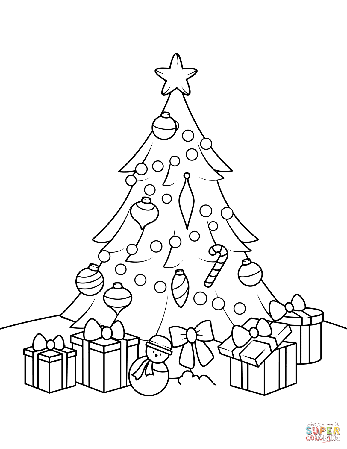 Christmas Tree Coloring Pages With Presents Page Free Printable