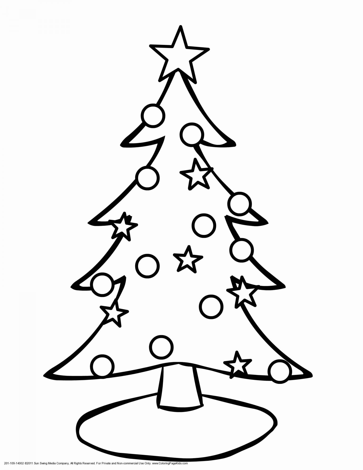 Christmas Tree Coloring Pictures With Easy Pages Printable