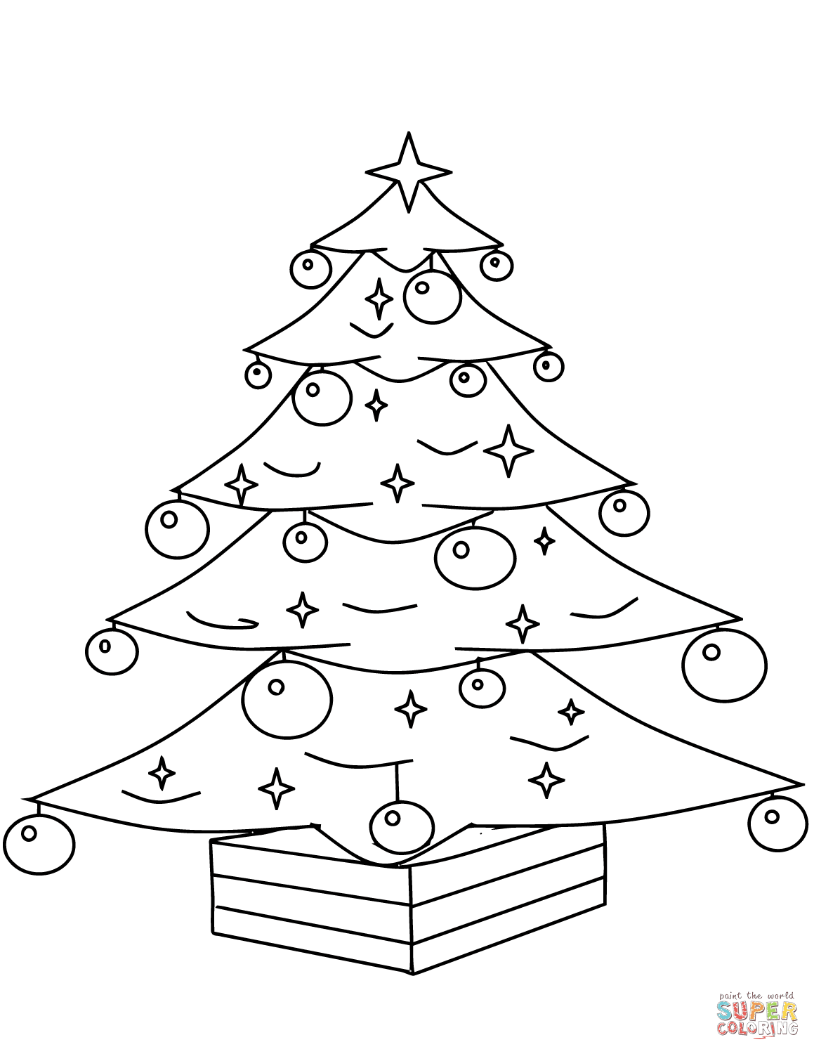Christmas Tree Coloring Pictures With Pages Free