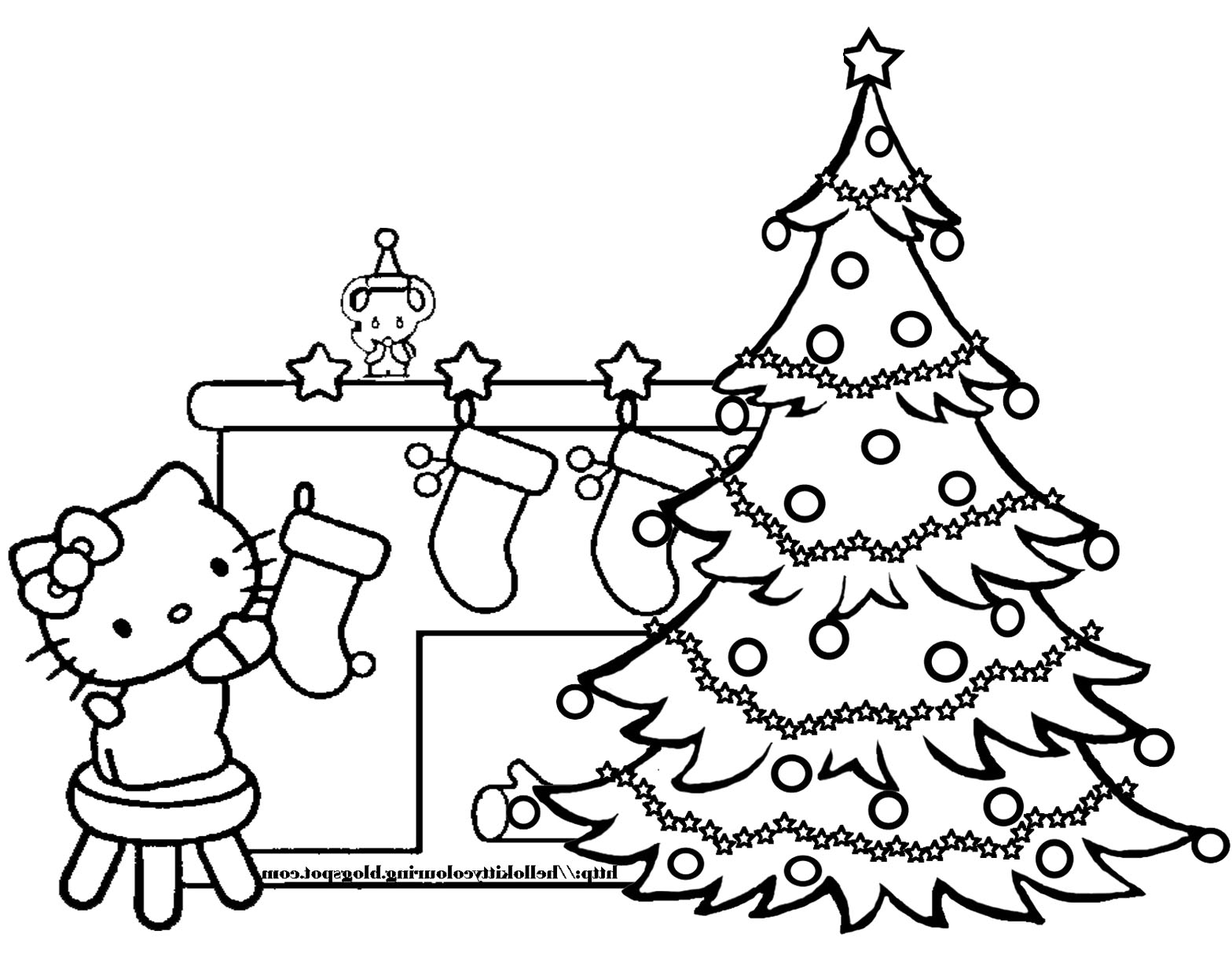 Christmas Tree Coloring Pictures With Pages Hello Kitty And