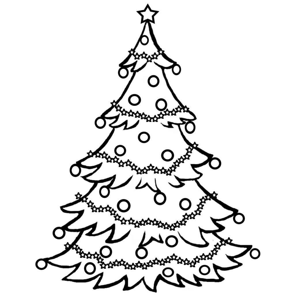 Christmas Tree Coloring Printable With Free Line Drawing Download Clip Art