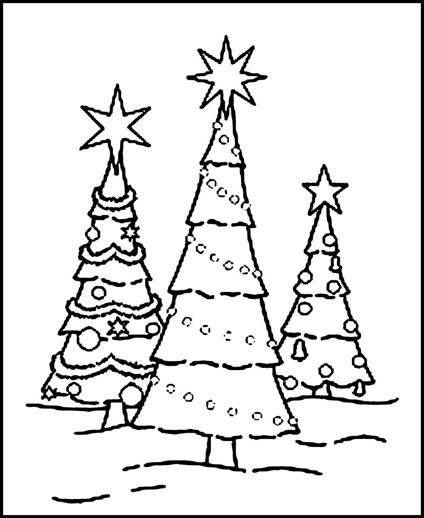 Christmas Tree Coloring Printable With Page Creative Images Collect
