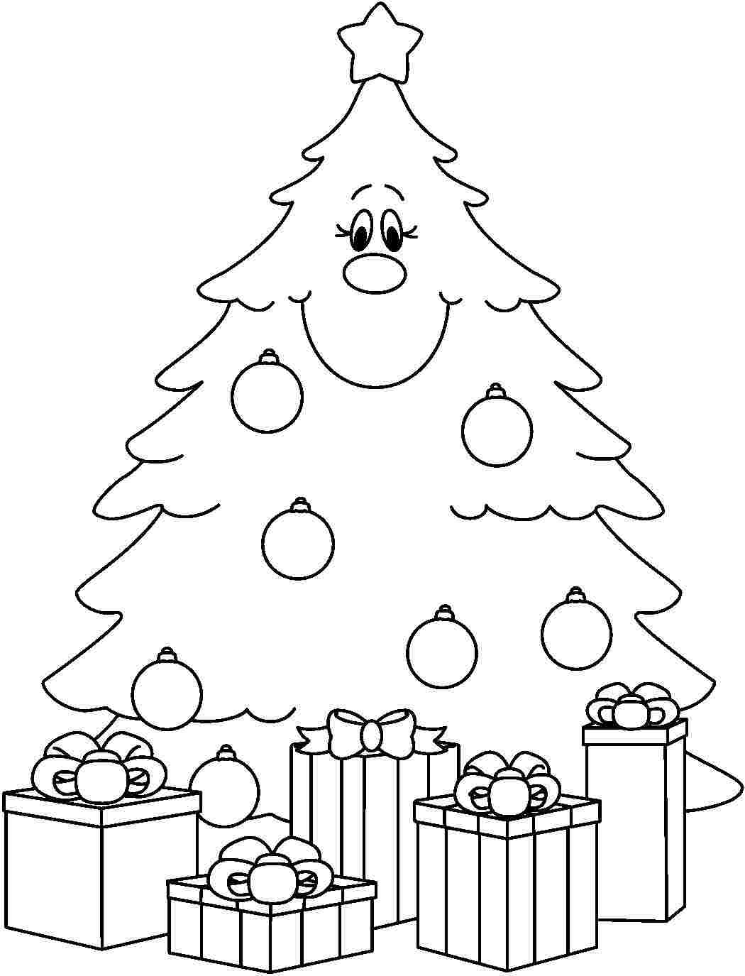 Christmas Tree Coloring Printable With Unique Presents Pages Collection Free