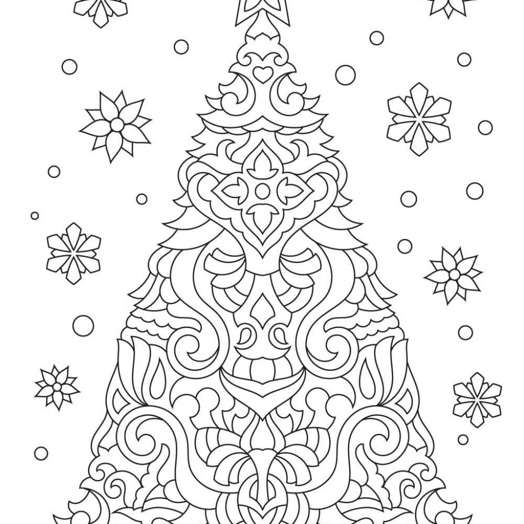 Christmas Tree Colouring Pages For Adults With Adult Coloring Page Easter