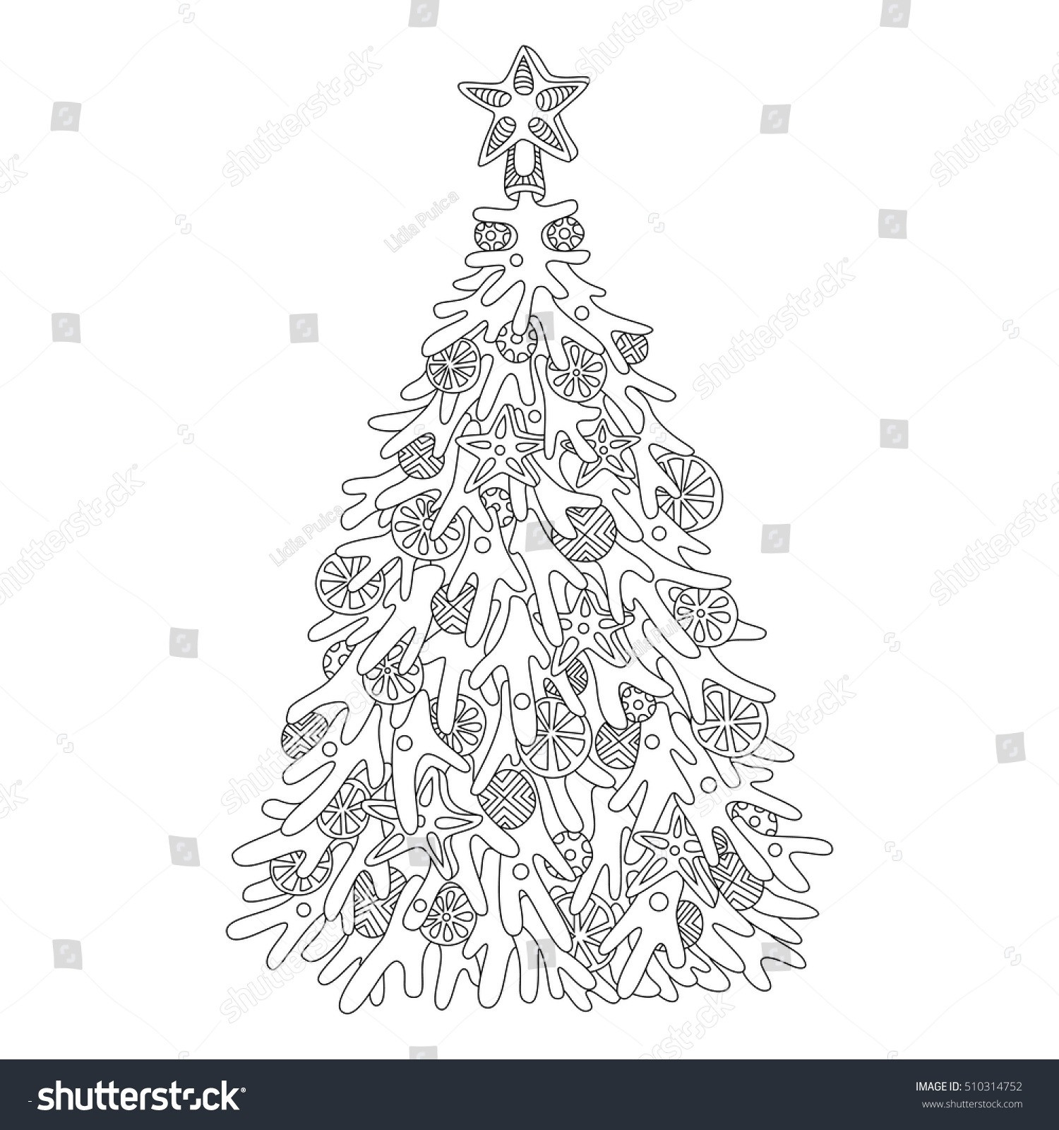 Christmas Tree Colouring Pages For Adults With Coloring Ornaments Inspirational