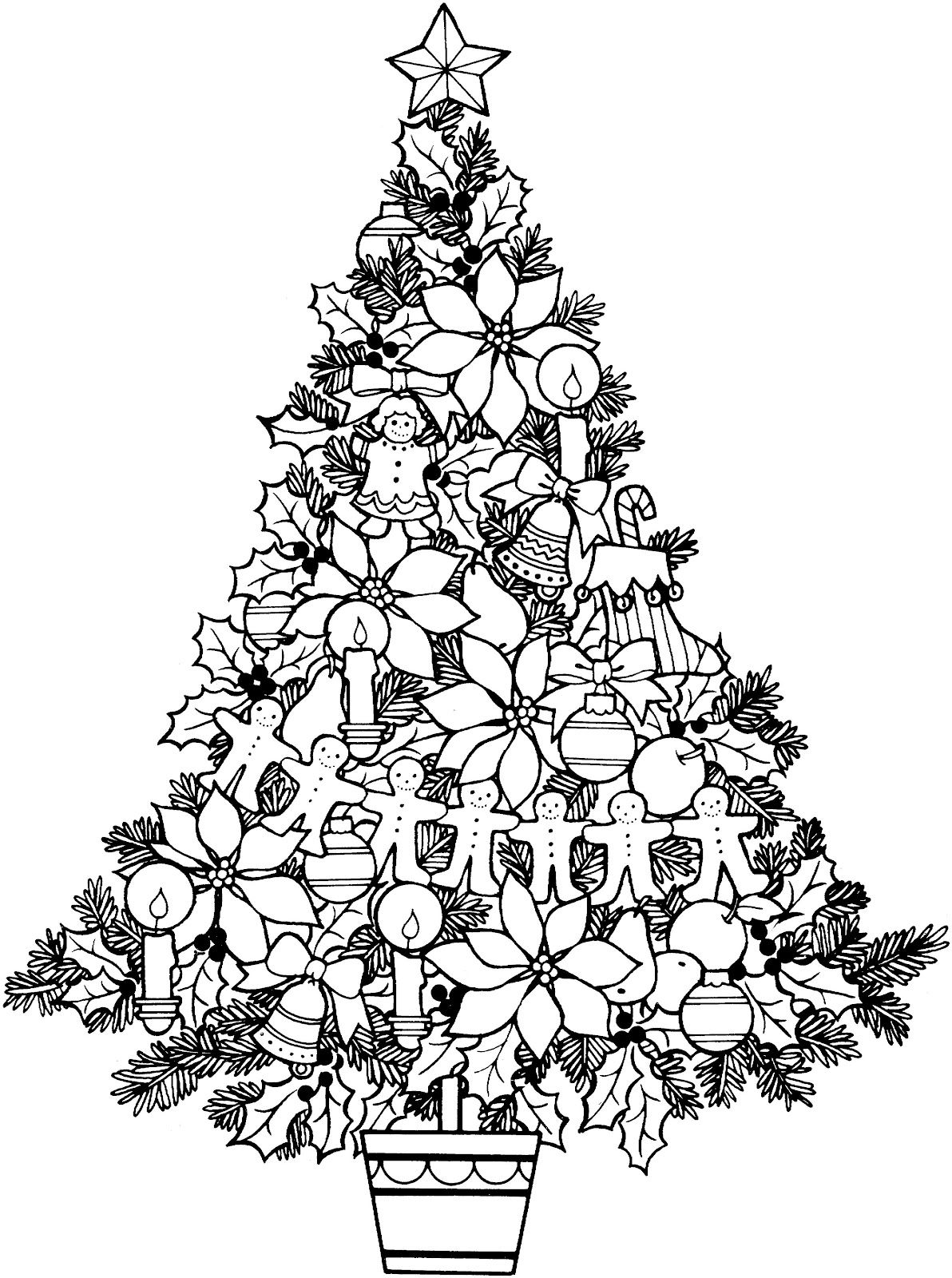 Christmas Tree Colouring Pages For Adults With Icons Black And White Coloring