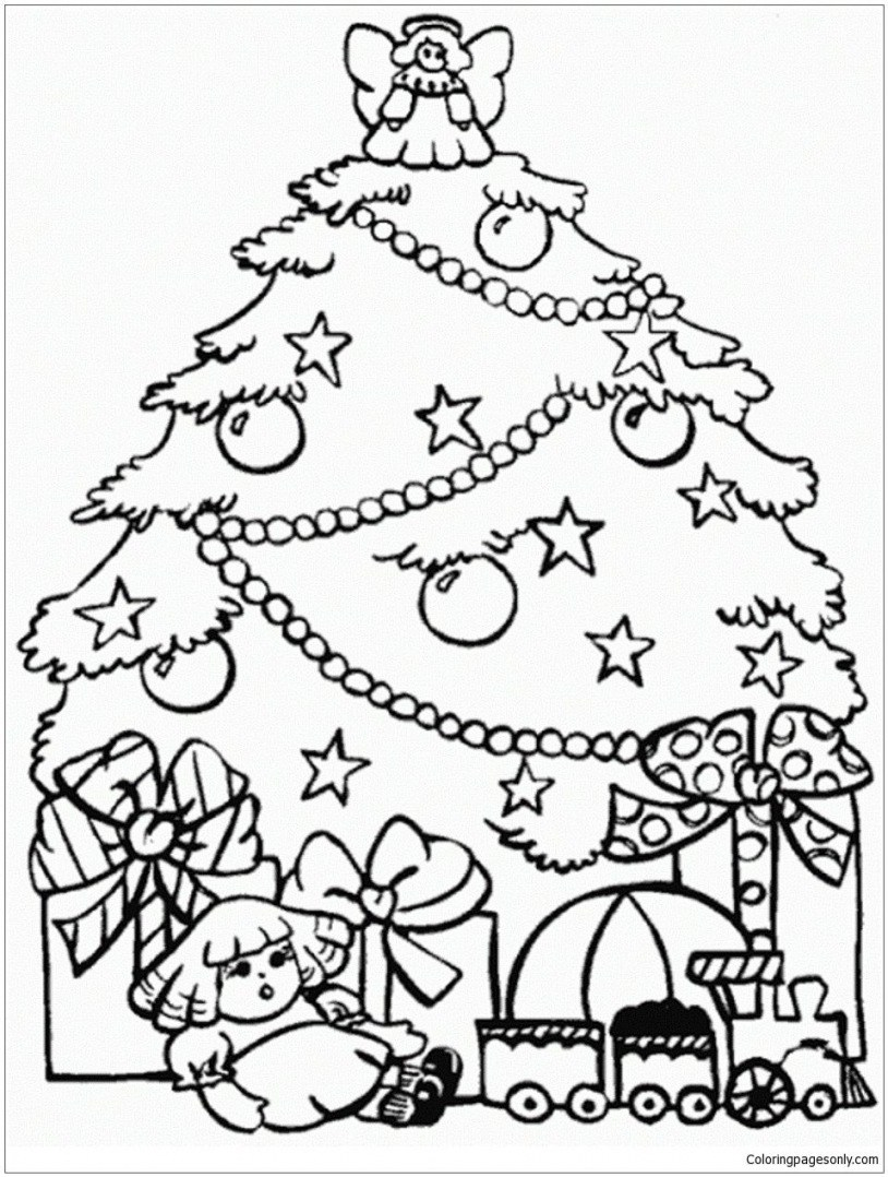 Christmas Tree Colouring Pages For Adults With Trees Printable Coloring Best In