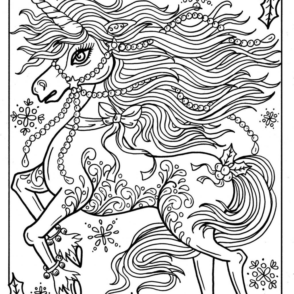 Christmas Unicorn Coloring Pages With Adult Page Book Holidays Fantasy