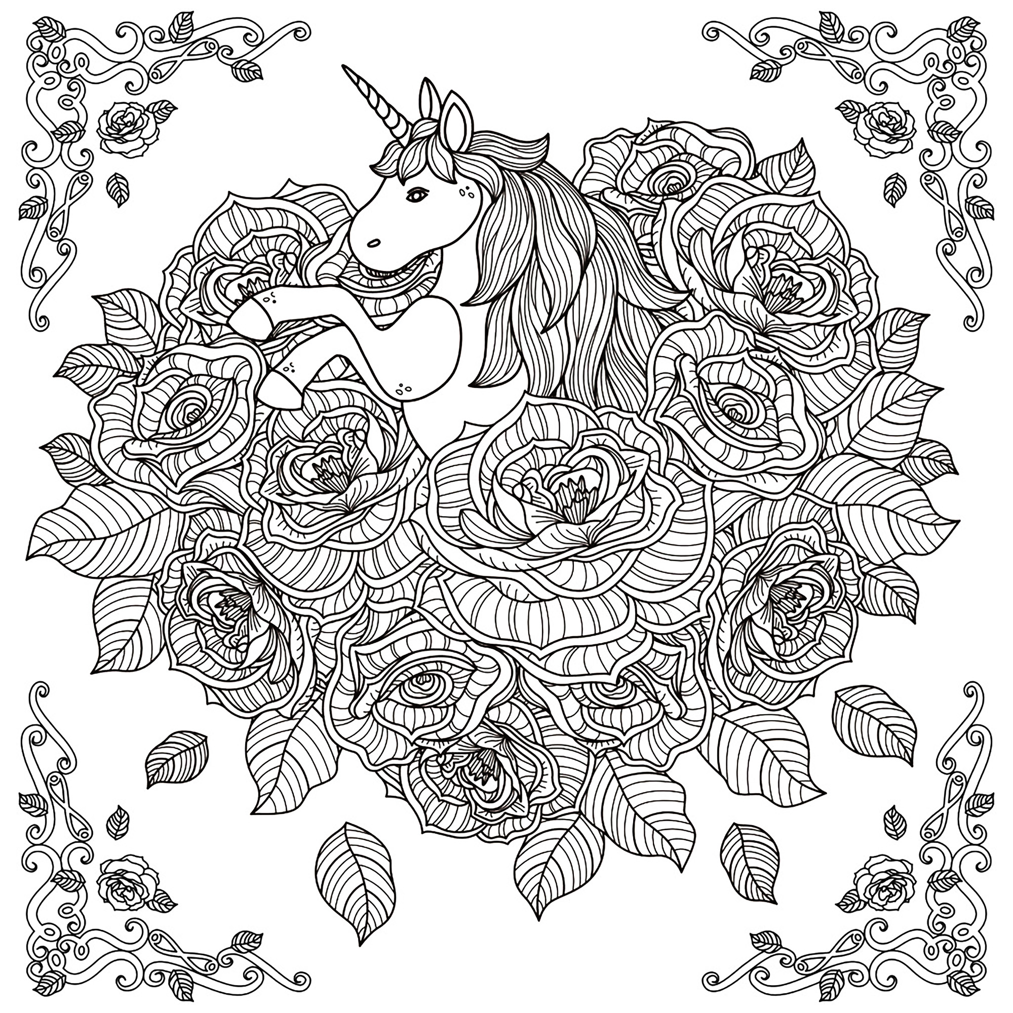 Christmas Unicorn Coloring Pages With For Adults