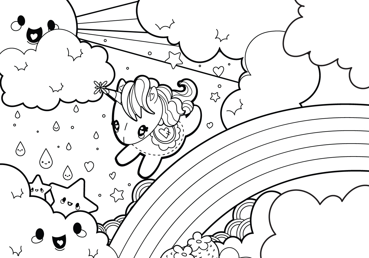 Christmas Unicorn Coloring Pages With Rainy Rainbow Scene Page Download Free Vector Art