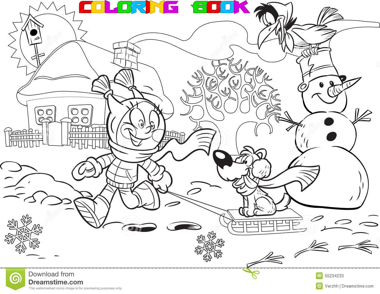 Christmas Vacation Coloring Book With Child On Winter Stock Vector Illustration Of
