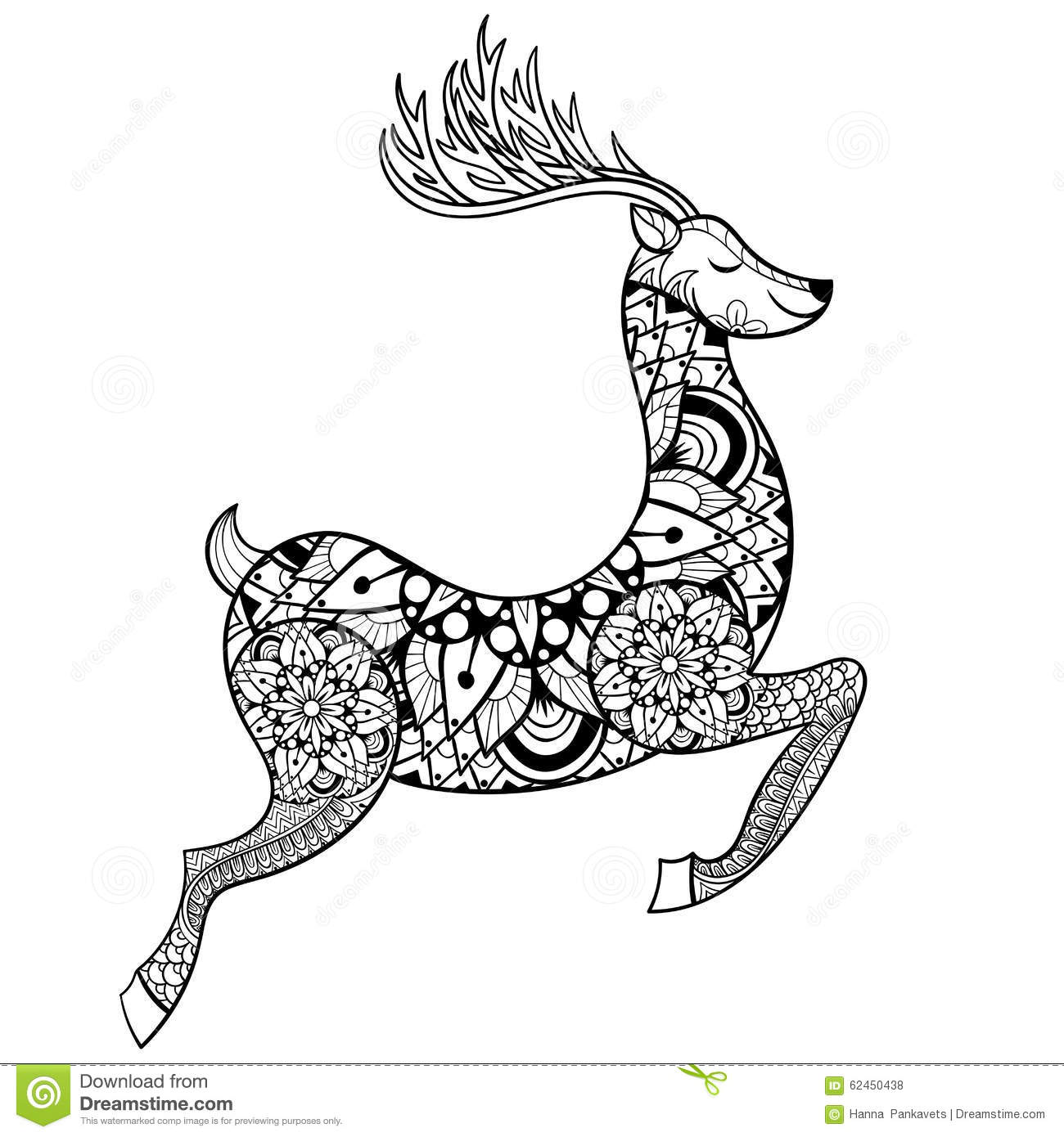 Christmas Vacation Coloring Book With Zentangle Vector Reindeer For Adult Anti Stress Pages