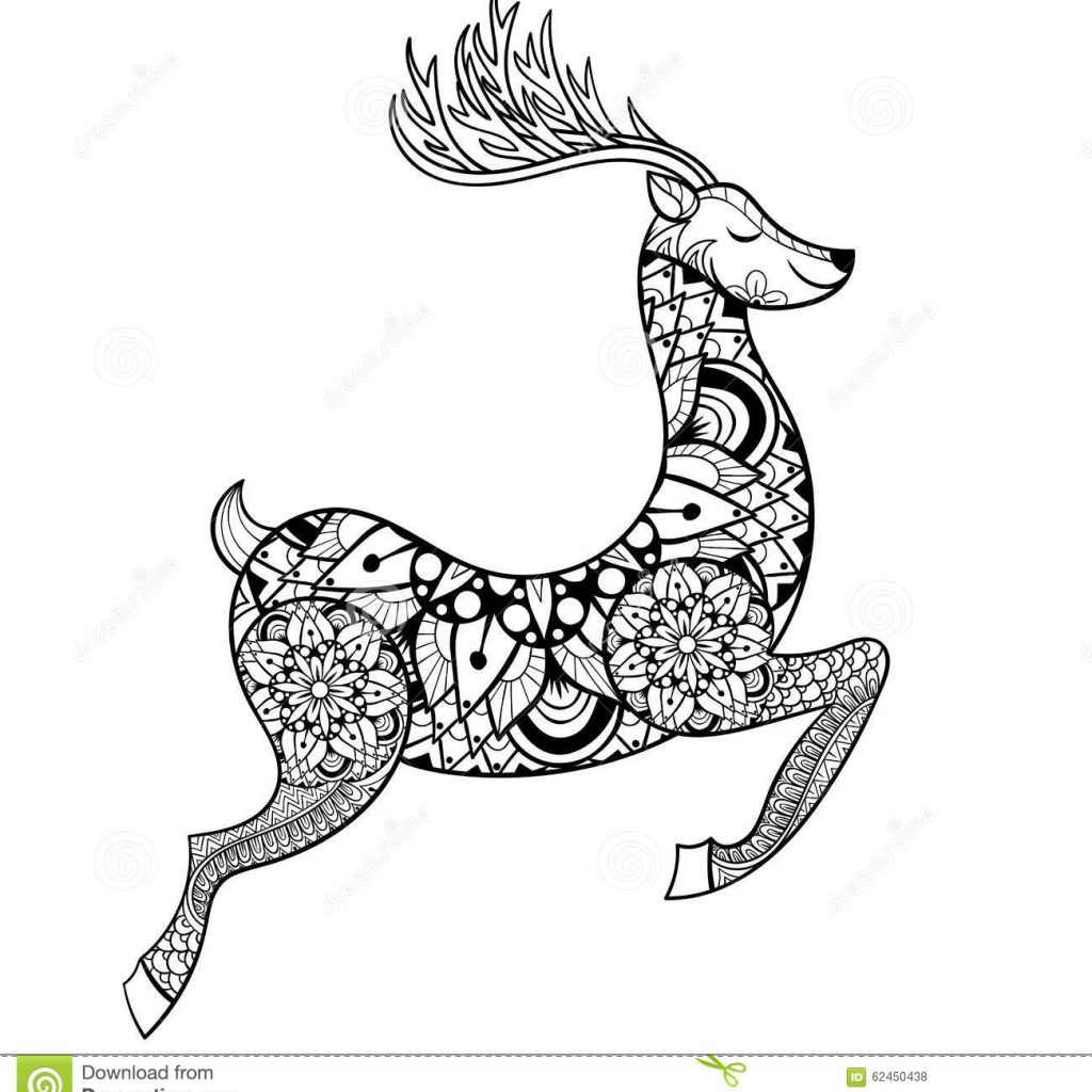 Christmas Vacation Coloring Pages With Zentangle Vector Reindeer For Adult Anti Stress