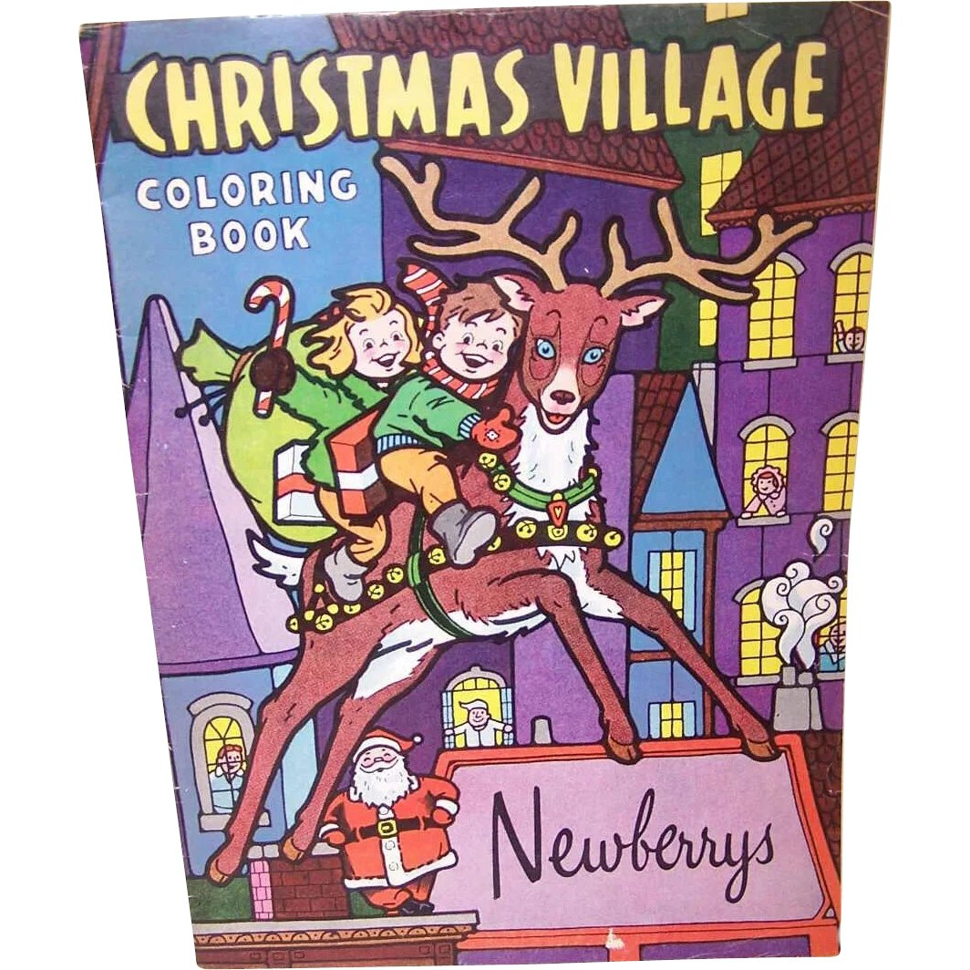 Christmas Village Coloring Book With C 1965 NEWBERRYS Never Used