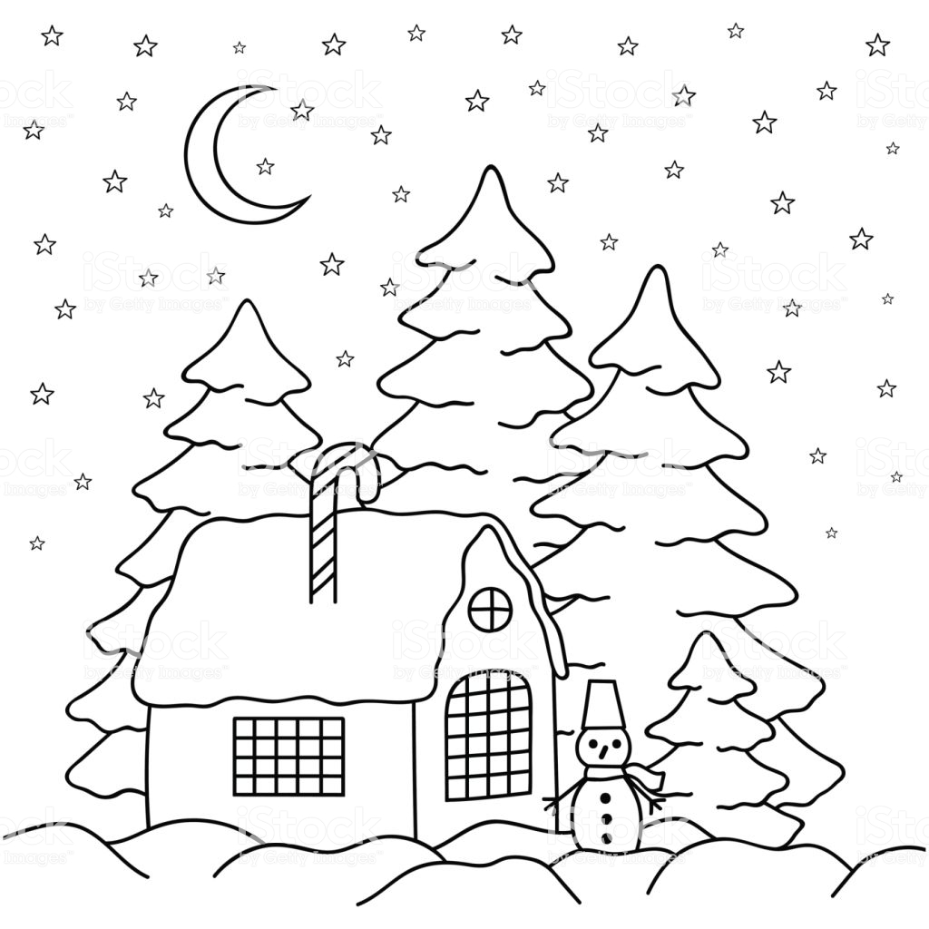 Christmas Village Coloring Book With Handdraw House Behind The Fence Page For