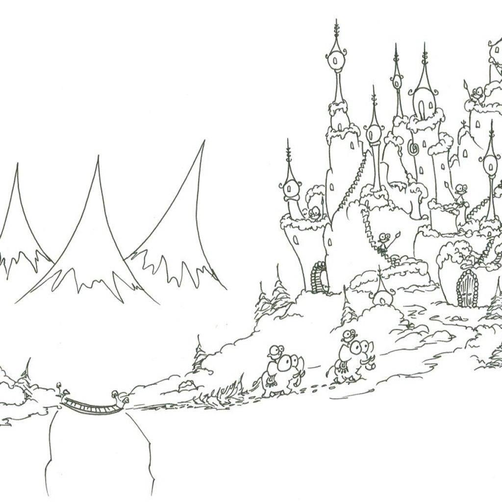 Christmas Village Coloring Book With Pages Monkeys Bringing A Tree To Their Castle