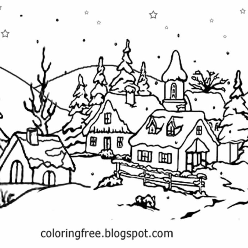Christmas Village Coloring Pages Printable With 28 Collection Of Winter Scene High Quality Free