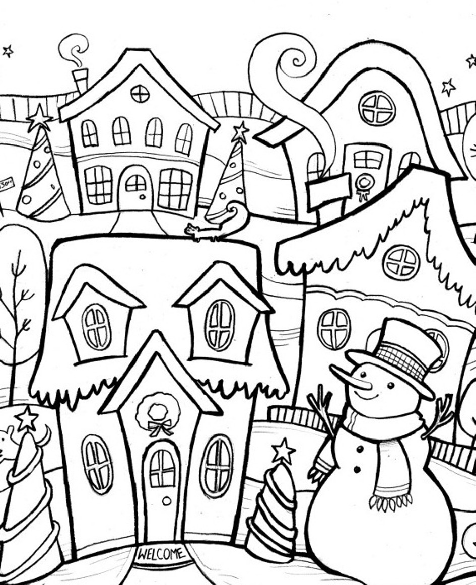 Christmas Village Coloring Pages Printable With