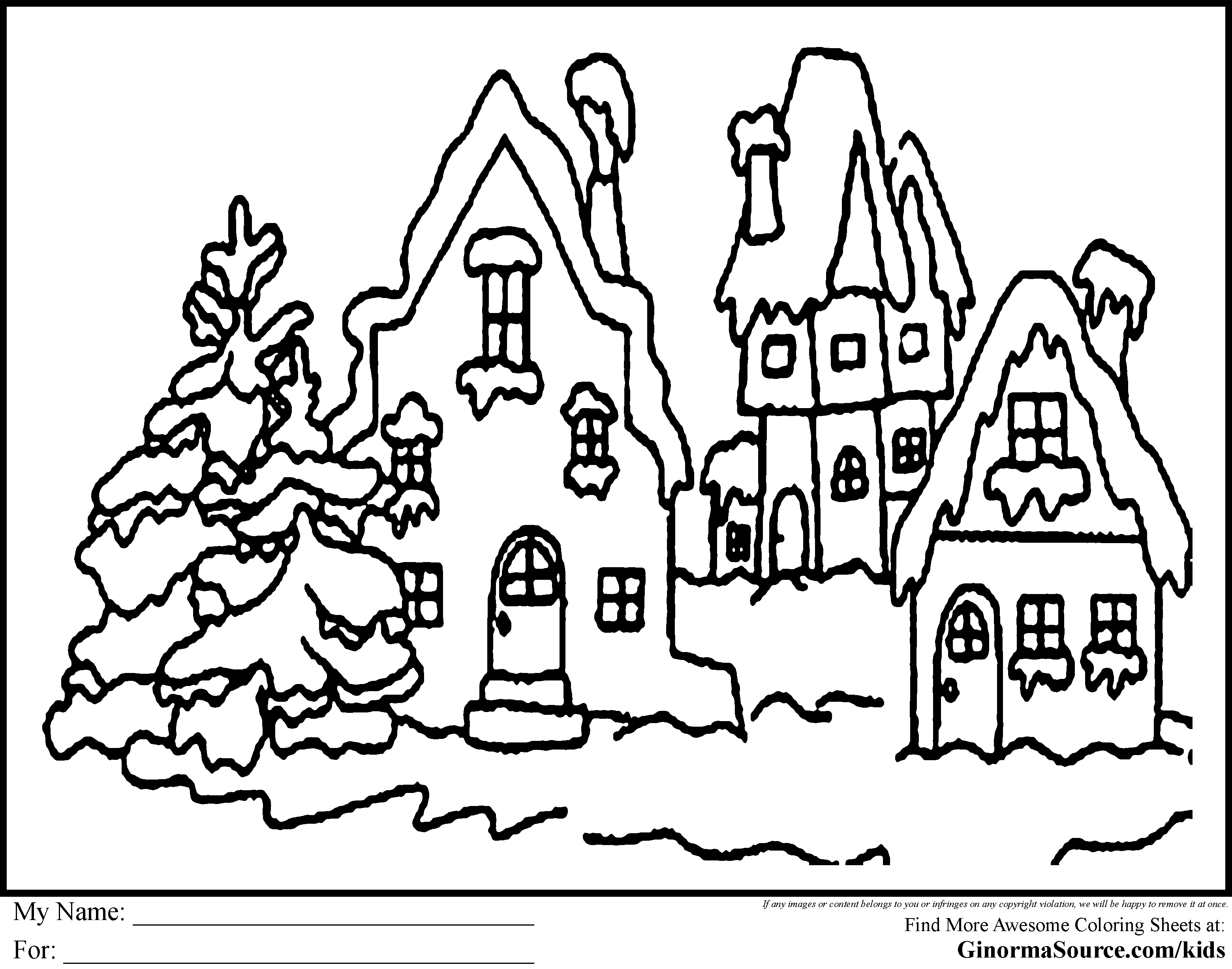 Christmas Village Coloring Pages With How The Grinch Stole Printable Free