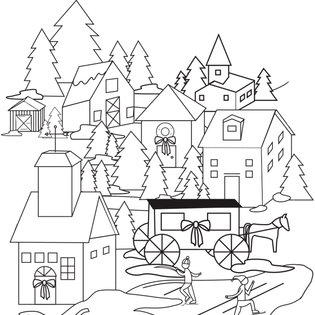 Christmas Village Coloring Pictures With Page Free Printable Pages