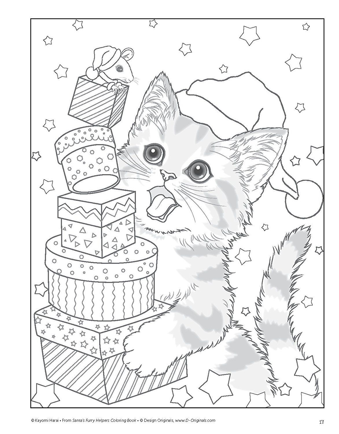 Christmas Village Coloring Pictures With Santa S Furry Helpers Book Colouring Books Amazon De