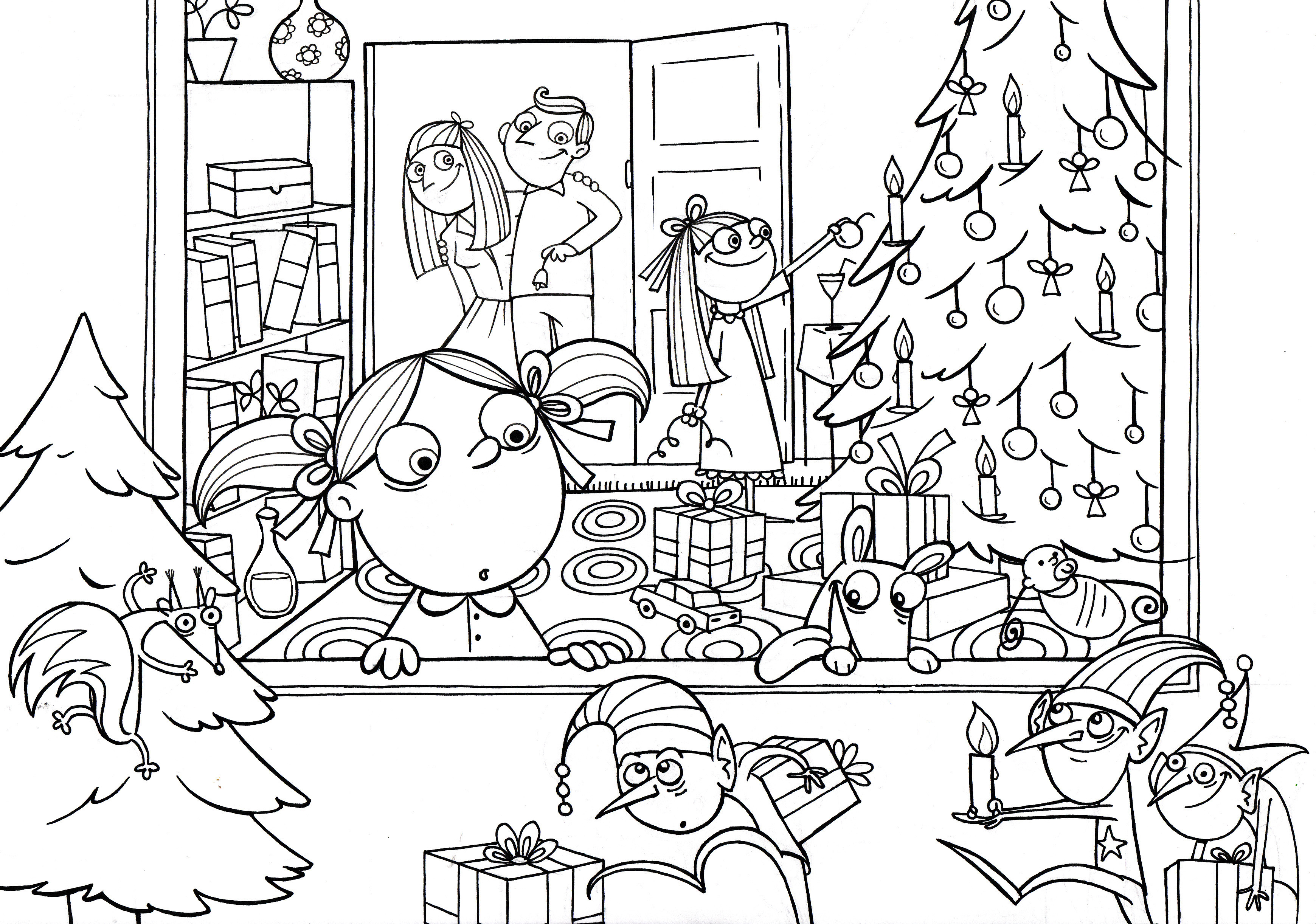 Christmas Village Coloring Pictures With Scene Pages 2023808