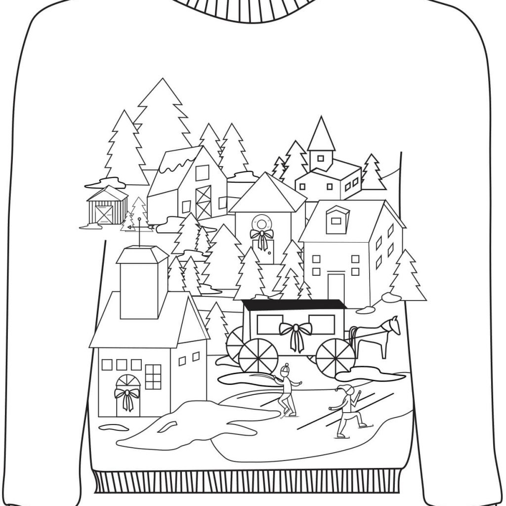 Christmas Village Coloring Pictures With Ugly Sweater A Motif Page Free