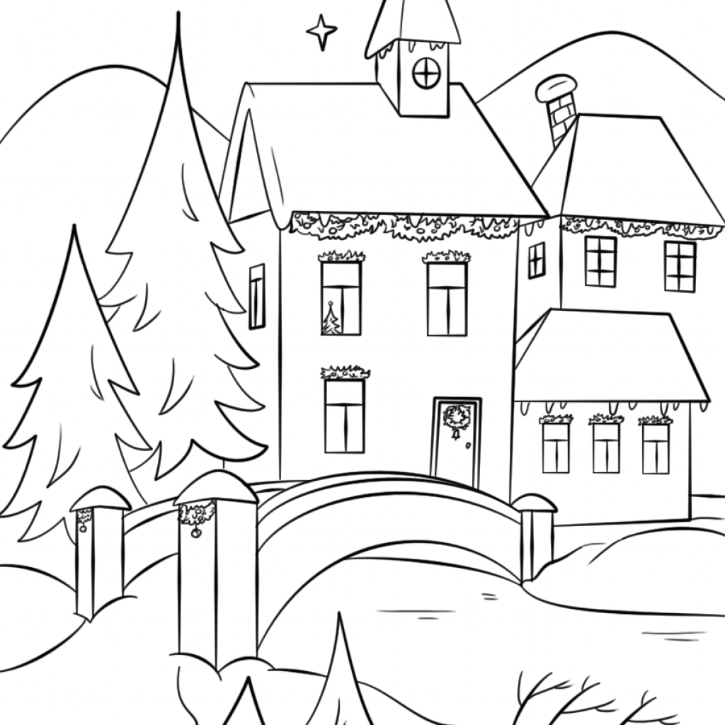 Christmas Village Coloring Pictures With Winter Page Free Printable Pages
