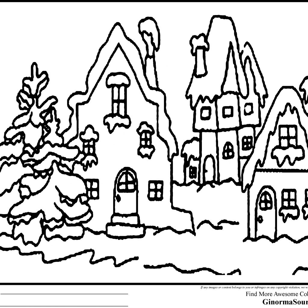 Christmas Village Coloring With How The Grinch Stole Pages Printable Free