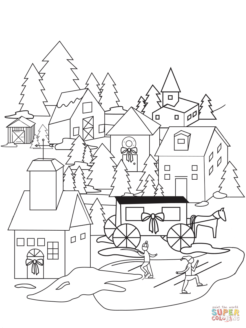 Christmas Village Coloring With Page Free Printable Pages