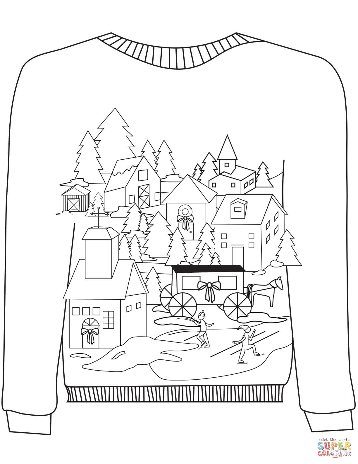 Christmas Village Coloring With Ugly Sweater A Motif Page Free