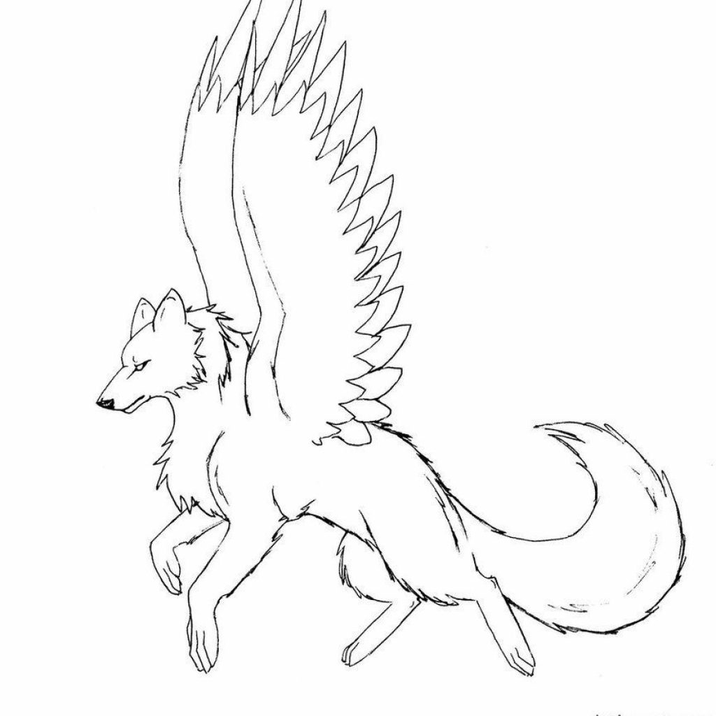 Christmas Wolf Coloring Pages With 10 Pics Of Dragon Winged Cool Anime