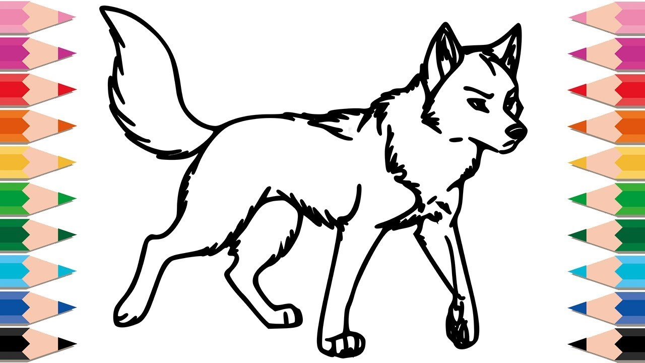 Christmas Wolf Coloring Pages With How To Draw For Kids Drawing Animals Learn