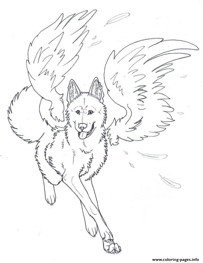 Christmas Wolf Coloring Pages With Winged Angel Printable