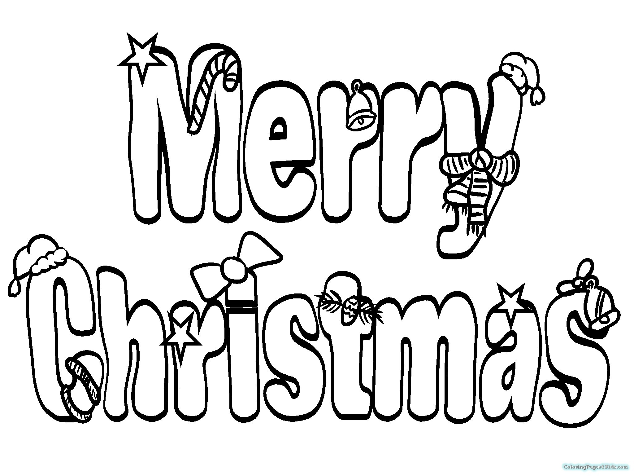 Christmas Words Coloring Pages With Amazing Merry Zfcampusorg