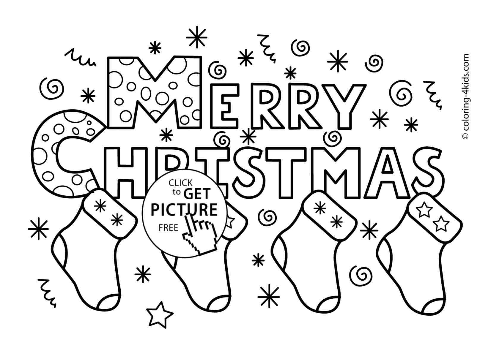 Christmas Words Coloring Pages With Merry