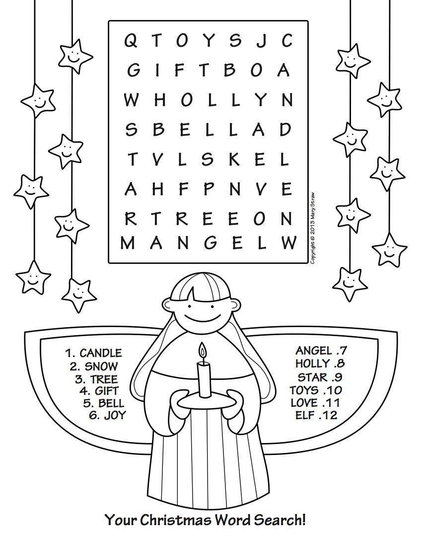 Christmas Words Coloring Pages With Your Word Search Part Of A Five Page Set Activity