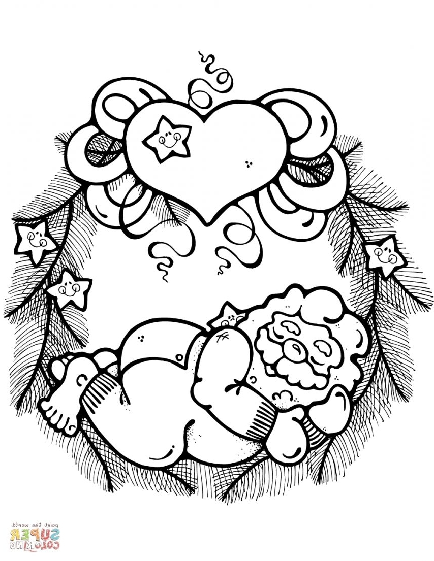 Christmas Wreath Coloring Pages For Adults With HK42