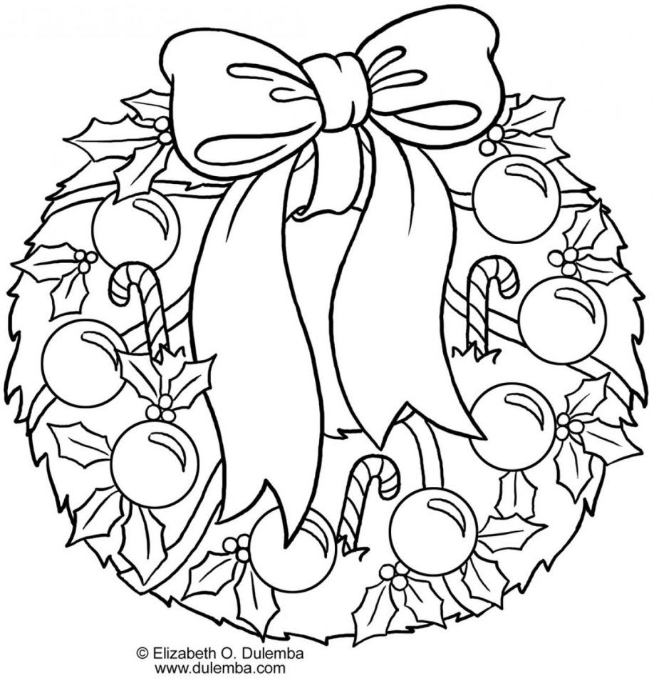 Christmas Wreath Coloring Pages For Adults With Page Shapes