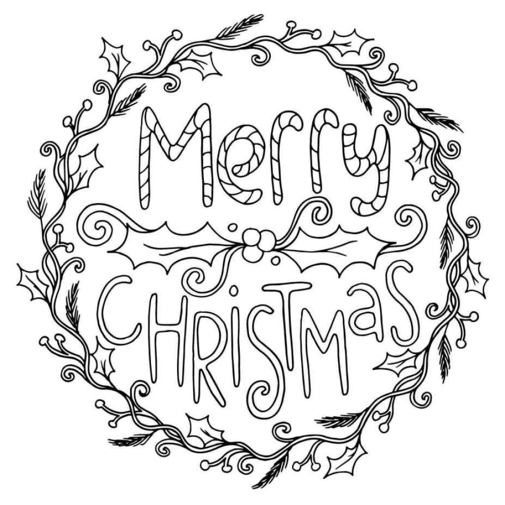 Christmas Wreath Coloring Pages For Adults With Simple Drawing Beautiful Wreaths