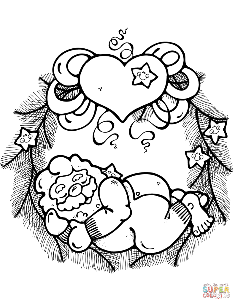 Christmas Wreath Coloring Pages For Adults With Sleeping Santa Claus Decorated Hearts And Stars
