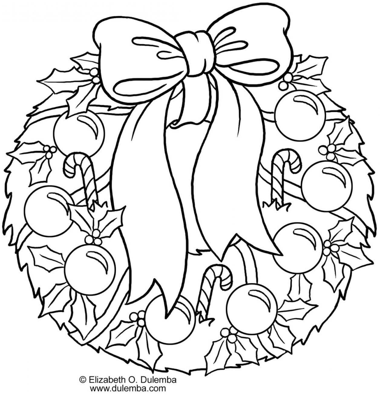Christmas Wreath Coloring Pages To Print With Collect Getcoloringpages Kids