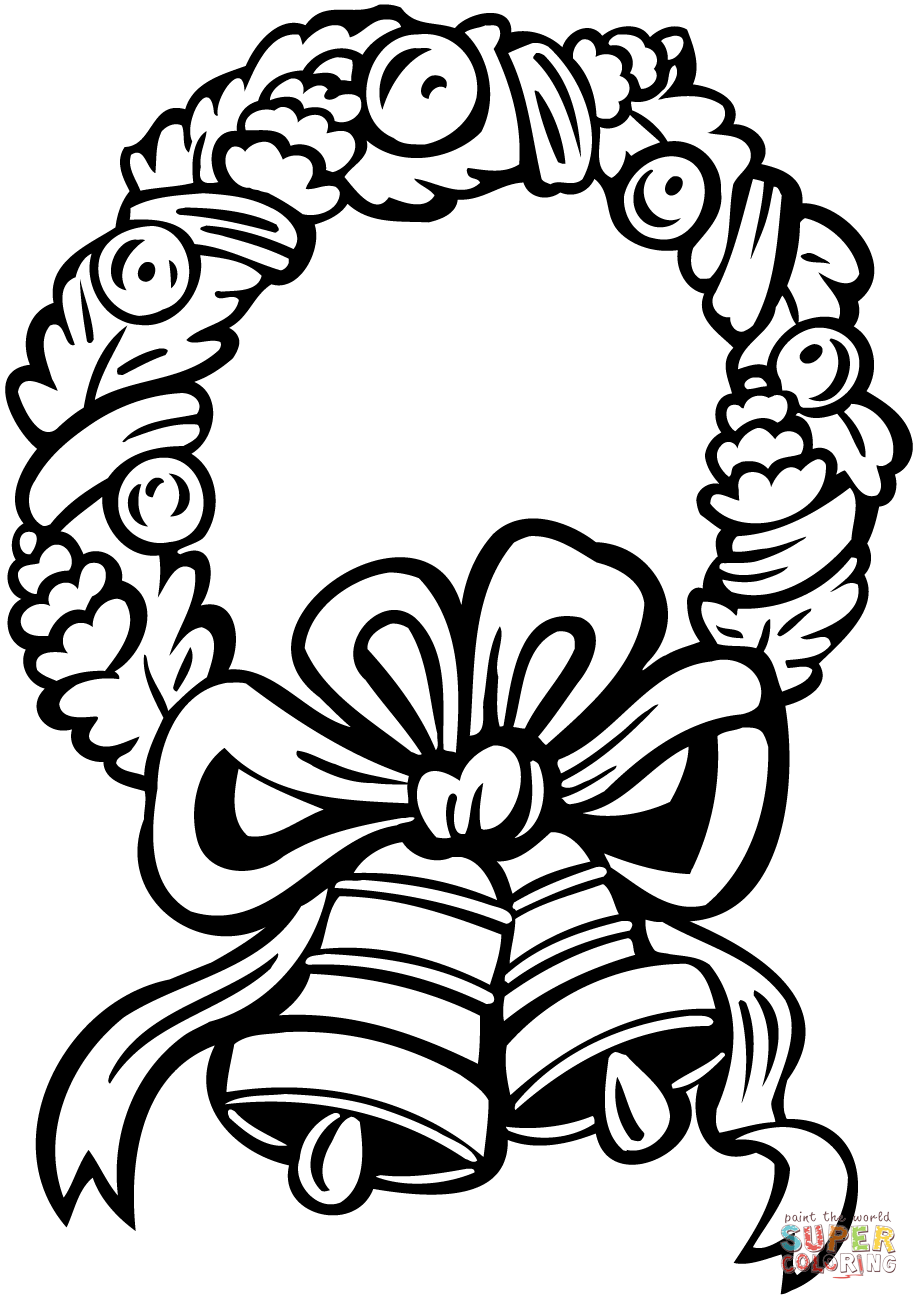Christmas Wreath Coloring Pages To Print With Jingle Bells Page Free Printable