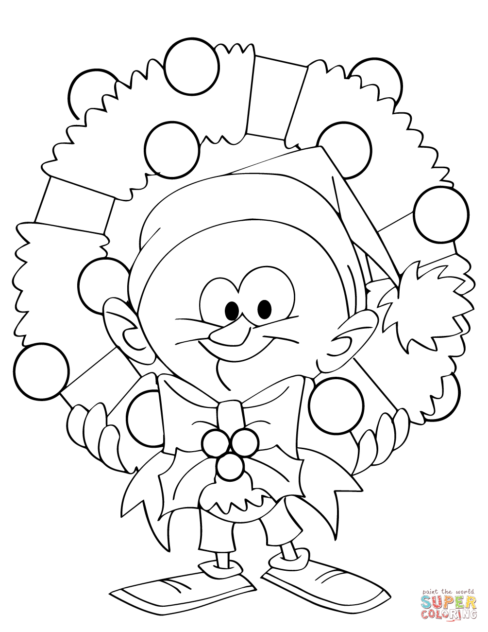 Christmas Wreath Coloring Pages To Print With Page Free Printable In Napisy Me