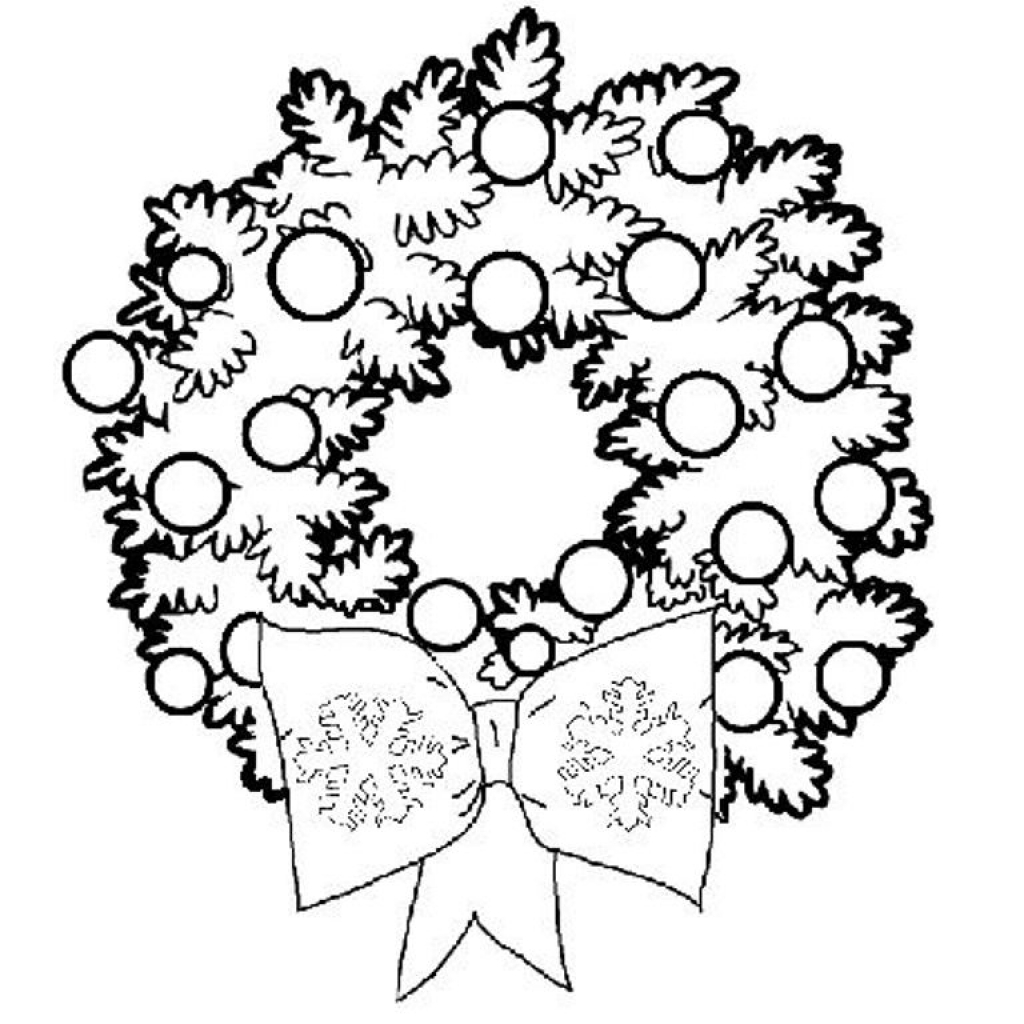 Christmas Wreath Coloring Pages To Print With Wreaths For Kids 2018 Throughout