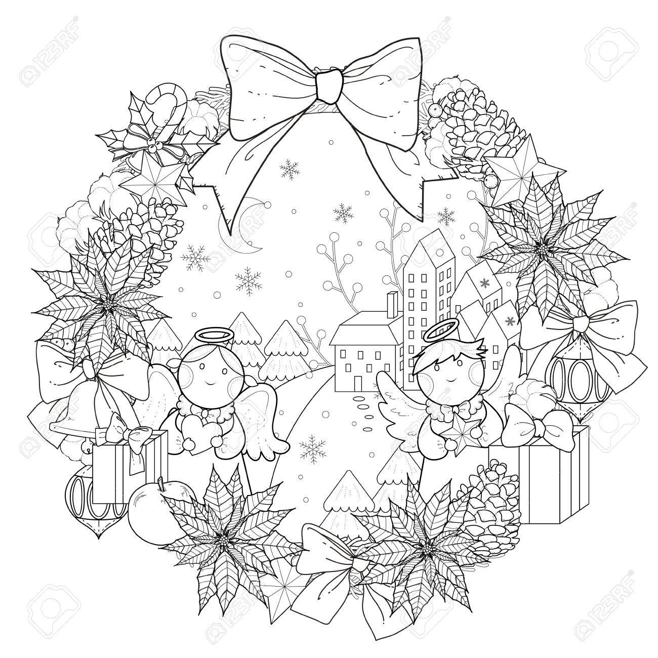 Christmas Wreath Coloring Pages With Page Decorations In Exquisite Line